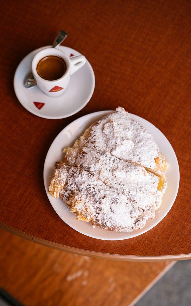 Lemon cake and an espresso at Trigo Bakery