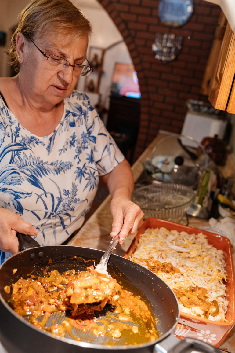 Bacalhau Maria Melo being prepared
