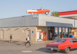 Vintage cars at gas station in Oshawa